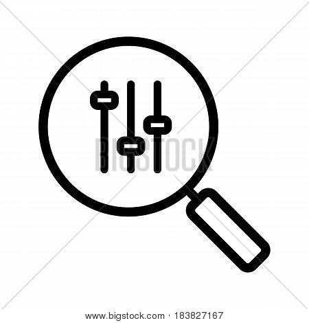 Preferences search linear icon. Thin line illustration. Magnifying glass with music equalizer contour symbol. Vector isolated outline drawing