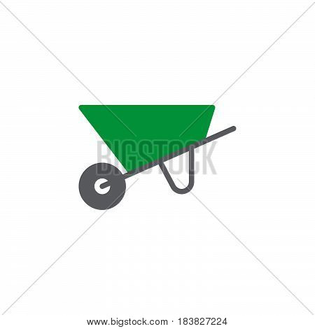 Wheelbarrow colorful vector icon vector filled flat sign solid pictogram isolated on white. Garden equipment symbol logo illustration. Pixel perfect