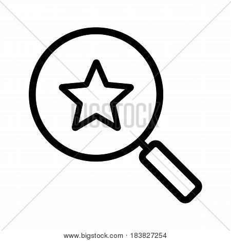 Magnifying glass with star linear icon. Thick line illustration. Contour symbol. Vector isolated outline drawing
