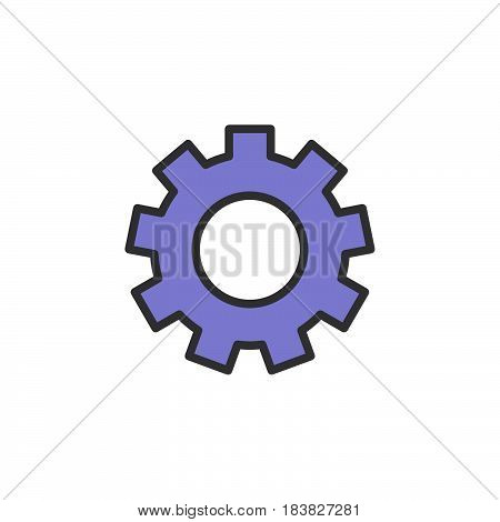 Gearwheel settings filled outline icon line vector sign linear style pictogram isolated on white. Symbol logo illustration. Editable stroke. Pixel perfect