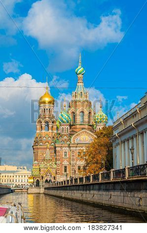 ST PETERSBURG, RUSSIA -OCTOBER 3,2016. Center of St Petersburg Russia - Cathedral of Our Saviour on Spilled Blood and Griboedov channel in St Petersburg Russia. Architecture autumn view of St Petersburg landmarks