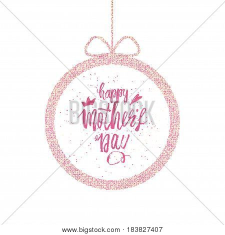 Happy Mother s Day Greeting Card. Frame with a greeting and a bow. Vector illustration