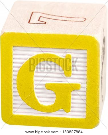 Wooden Letter Block With Letter G - Isolated