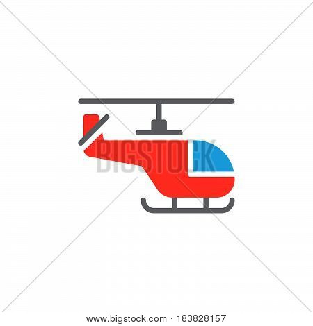Helicopter colorful vector icon filled flat sign solid pictogram isolated on white. Symbol logo illustration. Pixel perfect