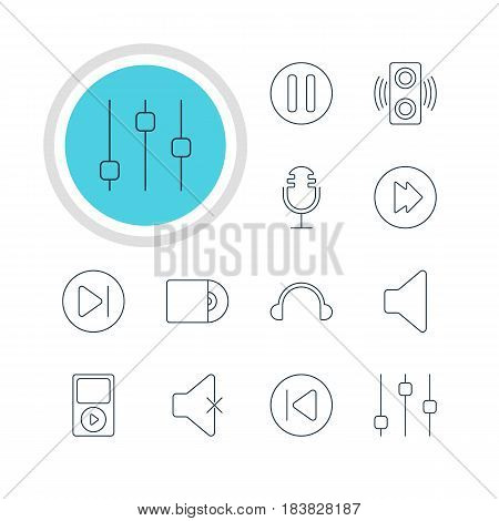Vector Illustration Of 12 Melody Icons. Editable Pack Of Soundless, Mike, Compact Disk And Other Elements.