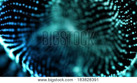 Dust particles floating with shallow depth of field settings. Macro look. Blue abstract science, technology and engineering background. 3D rendering.