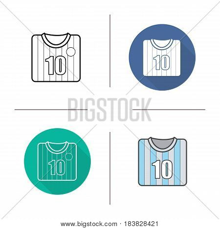 Soccer player's shirt icon. Flat design, linear and color styles. Football player's t-shirt. Isolated vector illustrations