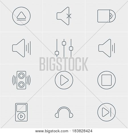 Vector Illustration Of 12 Melody Icons. Editable Pack Of Compact Disk, Mp3, Volume Up And Other Elements.