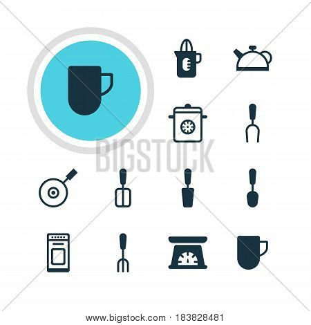 Vector Illustration Of 12 Cooking Icons. Editable Pack Of Barbecue Tool, Teakettle, Tablespoon And Other Elements.