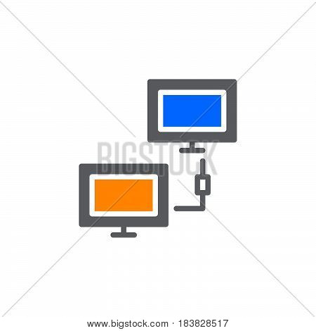 Client network connection icon vector filled flat sign solid colorful pictogram isolated on white. Symbol logo illustration. Pixel perfect