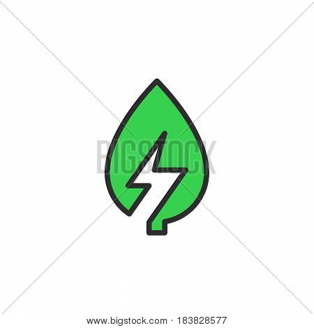 Leaf with lightning bolt line icon filled outline vector sign linear colorful pictogram isolated on white. Green energy symbol logo illustration. Editable stroke. Pixel perfect