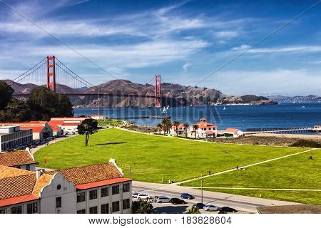 The Golden Gate Bridge in San Francisco bay and Crissy Field