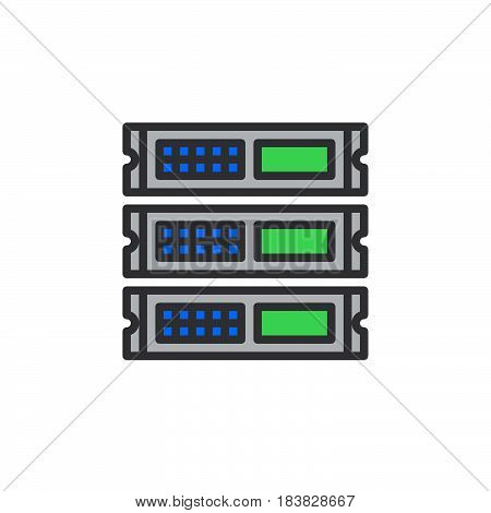 Rack units servers line icon filled outline vector sign linear colorful pictogram isolated on white. Symbol logo illustration. Editable stroke. Pixel perfect