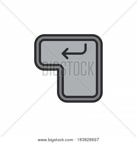 Enter keyboard key line icon filled outline vector sign linear pictogram isolated on white. Symbol logo illustration. Editable stroke. Pixel perfect