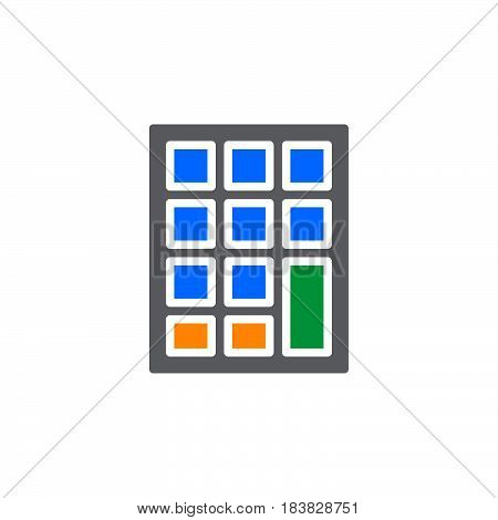Keypad icon vector filled flat sign solid colorful pictogram isolated on white. Symbol logo illustration. Pixel perfect