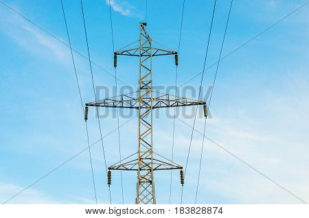 High Voltage Electric Tower. Power lines concept.