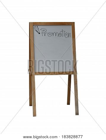 Sign wood of Promotion and have copy space isolated on white backgroundclipping paths to easy deployment.