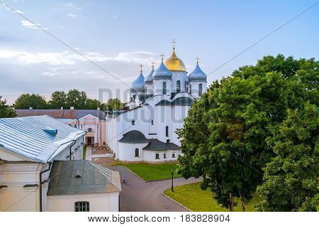 Architecture Landscape-birds Eye View Of St Sophia Cathedral In Veliky Novgorod, Russia.
