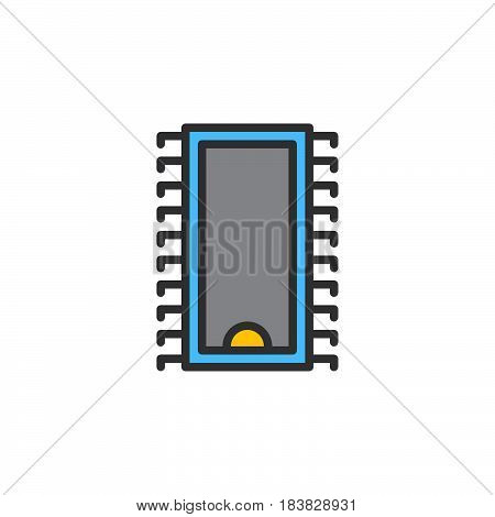 Integrated circuit microchip line icon filled outline vector sign linear colorful pictogram isolated on white. Symbol logo illustration. Editable stroke. Pixel perfect