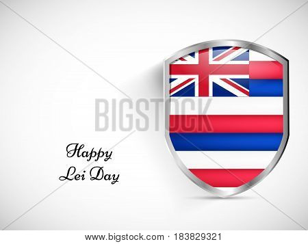 Illustration of shield with Hawai country flag with Lei Day text