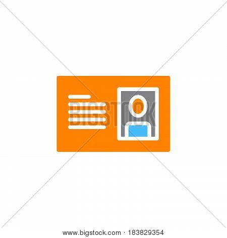 Id card icon vector filled flat sign solid colorful pictogram isolated on white. Symbol logo illustration. Pixel perfect