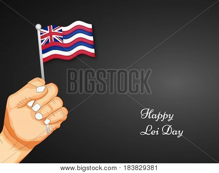 illustration of set of elements Hawai country flag and hand with lei day text