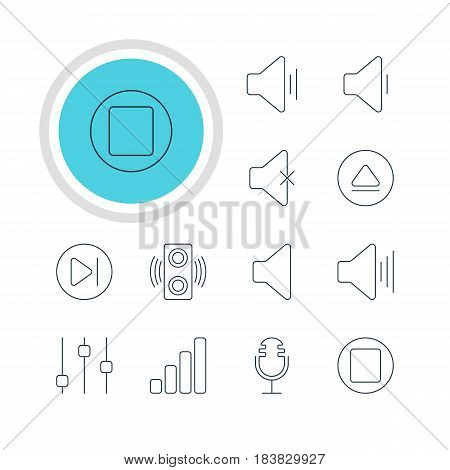 Vector Illustration Of 12 Melody Icons. Editable Pack Of Speaker, Audio, Pause And Other Elements.