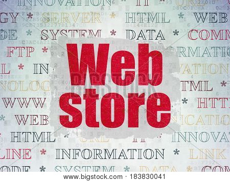 Web design concept: Painted red text Web Store on Digital Data Paper background with   Tag Cloud
