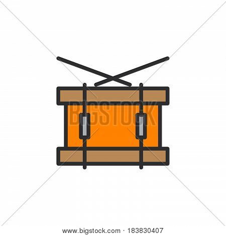 Snare drum line icon filled outline vector sign linear colorful pictogram isolated on white. Symbol logo illustration. Editable stroke. Pixel perfect