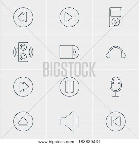 Vector Illustration Of 12 Melody Icons. Editable Pack Of Rewind, Audio, Mike And Other Elements.