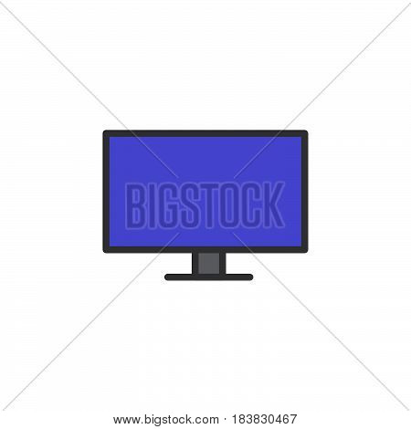 Flat Screen TV line icon filled outline vector sign linear colorful pictogram isolated on white. Symbol logo illustration. Editable stroke. Pixel perfect