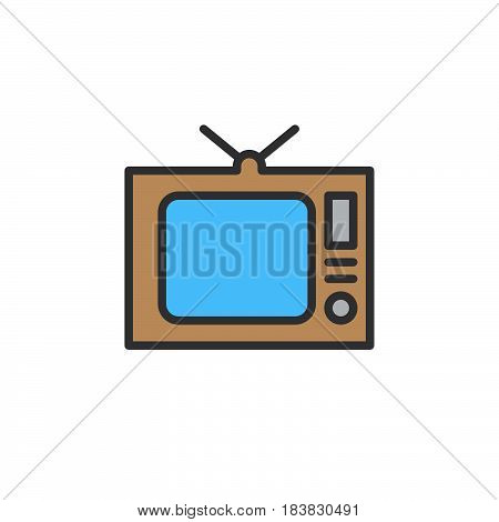 Old Tv television line icon filled outline vector sign linear colorful pictogram isolated on white. Symbol logo illustration. Editable stroke. Pixel perfect