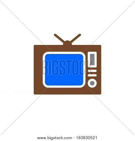 Old Tv television icon vector filled flat sign solid colorful pictogram isolated on white. Symbol logo illustration. Pixel perfect