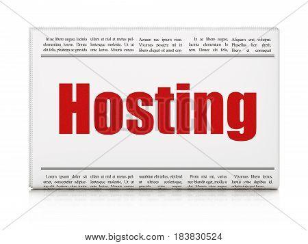 Web design concept: newspaper headline Hosting on White background, 3D rendering
