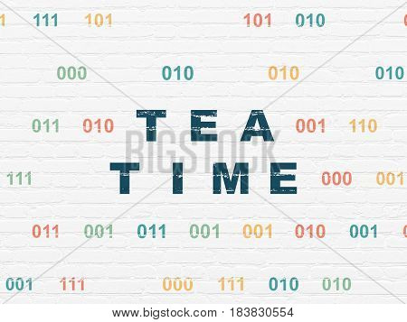 Time concept: Painted blue text Tea Time on White Brick wall background with Binary Code