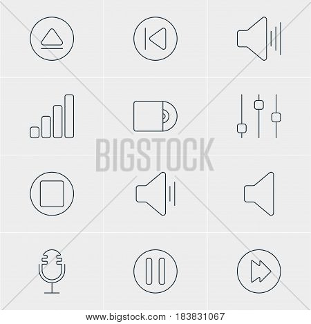 Vector Illustration Of 12 Music Icons. Editable Pack Of Preceding, Compact Disk, Volume Up And Other Elements.