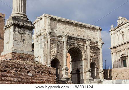 Ancient triumphal Arch of Septimius Severus in Roman Forum