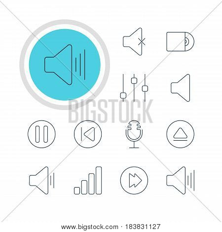 Vector Illustration Of 12 Music Icons. Editable Pack Of Preceding, Speaker, Rewind And Other Elements.