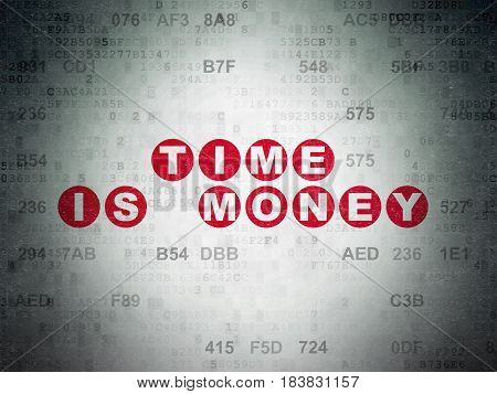 Time concept: Painted red text Time Is money on Digital Data Paper background with Hexadecimal Code