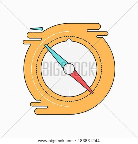 Compass creative symbol concept. Flat thin line sign for web design. Navigation pointer symbol. Vector illustration