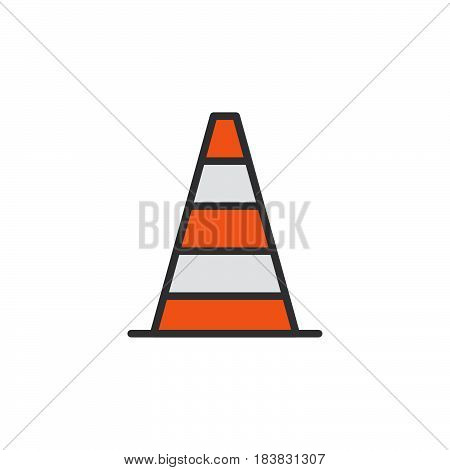 Pylon traffic cone line icon filled outline vector sign linear colorful pictogram isolated on white. Symbol logo illustration. Editable stroke. Pixel perfect