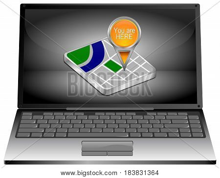 Laptop Computer with orange You are Here Map Pointer - 3D illustration