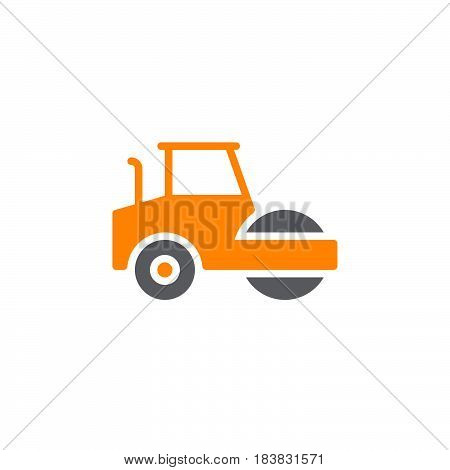Road roller steamroller icon vector filled flat sign solid colorful pictogram isolated on white. Symbol logo illustration. Pixel perfect