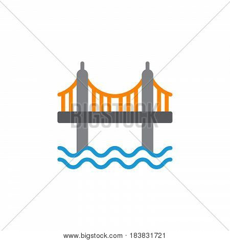 Suspension bridge icon vector filled flat sign solid colorful pictogram isolated on white. Symbol logo illustration. Pixel perfect