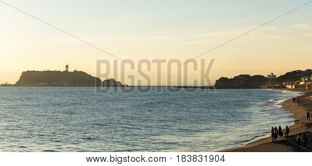 Yuigahama coast of Shonan at sunset