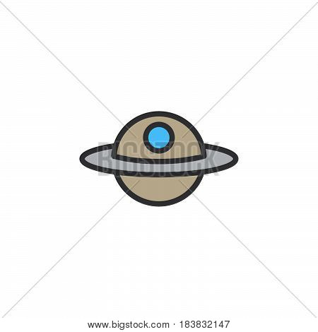 Unidentified flying object or UFO line icon filled outline vector sign linear colorful pictogram isolated on white. Alien space ship symbol logo illustration. Editable stroke. Pixel perfect