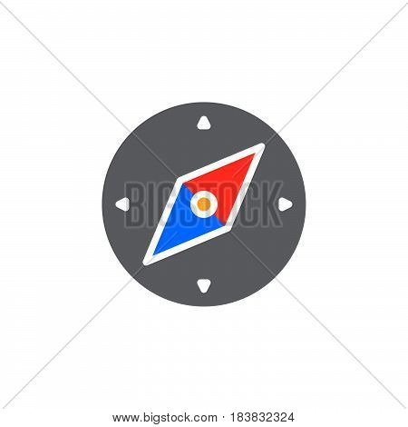 Compass icon vector filled flat sign solid colorful pictogram isolated on white. Symbol logo illustration. Pixel perfect
