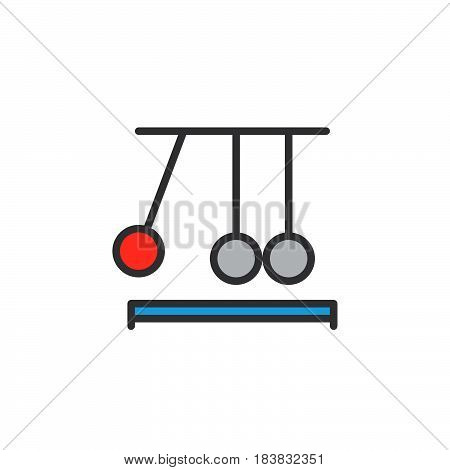 Newton's cradle line icon filled outline vector sign linear colorful pictogram isolated on white. Executive ball clicker symbol logo illustration. Editable stroke. Pixel perfect