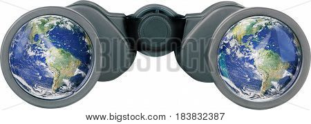Black Binoculars with Earth in the Lens - Isolated