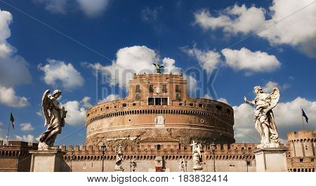 Castel Sant'Angelo (Holy Angel Castle) with beautiful statues and clouds in the center of Rome